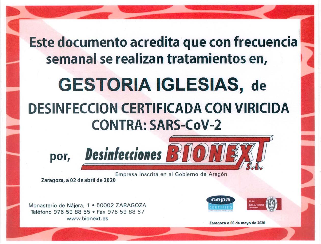 Certificado de tratamiento de desinfección certificada con viricida contra Sars-Cov-2